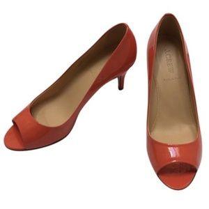 New J. Crew Drea Patent peep toe pumps 8.5 $189